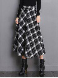 High Waisted Midi Tartan Skirt