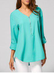 V Neck Zippered Tunic Blouse - GREEN