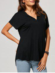 High-Low V Neck Loose T-Shirt