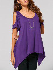 Asymmetric Cold Shoulder Baggy T-Shirt - PURPLE
