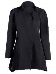 Asymmetric Duster Coat - BLACK 2XL