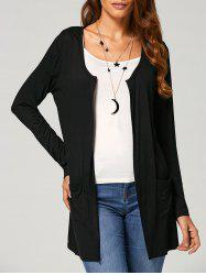 Open Front Pocket Collarless Cardigan -