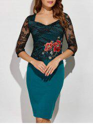 Rose Embroidered Lace Spliced Pencil Dress - GREEN