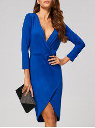 Wrap Plunging Neck Knee Length Sheath Dress