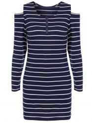 Cut Out Striped Zippered Casual Dress