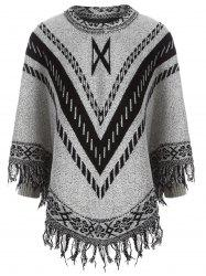 Fringe Jacquard Cape Sweater