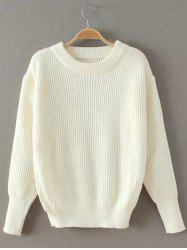 Casual Ribbed Pullover Sweater - WHITE ONE SIZE