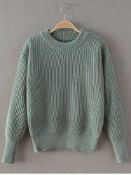 Casual Ribbed Pullover Sweater - LIGHT GREEN