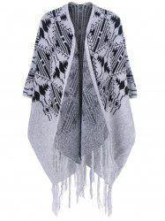 Fringed Bat Sleeve Asymmetrical Cardigan -