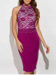 Cut Out Lace Panel Bodycon Dress - PLUM