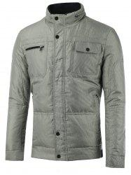 Stand Collar Zip-Up Tiny Plaid Padded Jacket