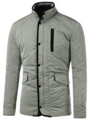 Stand Collar Flap Pocket Padded Jacket - GRAY