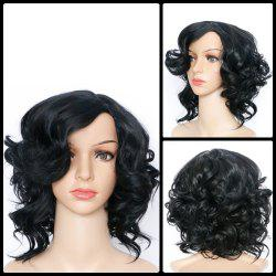 Short Side Bang Asymmetric Curly Synthetic Wig - BLACK