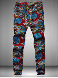 Drawstring Waist Retro Printed Jogger Pants - BLUE AND RED