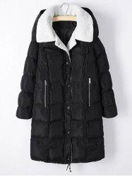 Plus Size Zipper Pocket Hooded Shearling Coat - BLACK