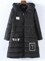 Plus Size Vertical Pockets Appliqued Hooded Quilted Coat -