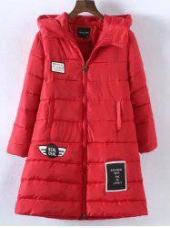 Plus Size Vertical Pockets Appliqued Hooded Quilted Coat - RED