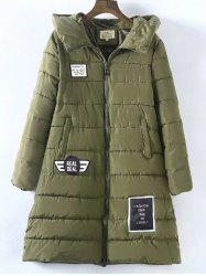 Plus Size Vertical Pockets Appliqued Hooded Quilted Coat - ARMY GREEN