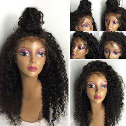 Long Shaggy Kinky Curly Lace Front Human Hair Wig - BLACK