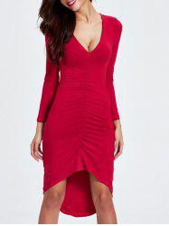 Plunging Neck Ruched Asymmetrical Dress