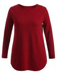 Plus Size Knitwear with Arc Hem -