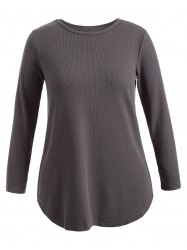 Plus Size Knitwear with Arc Hem