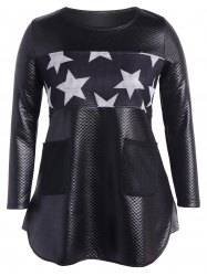 Faux Leather Stars Panel Tunic Top - BLACK 5XL