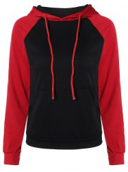 Color Block Raglan Sleeve Drawstring Hoodie - BLACK XL