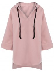 High Low Drawstring Hooded Coat -