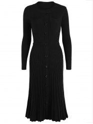 Knitting Button Up Long Sleeve Dress