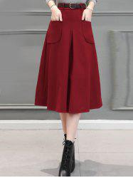 Front Pocket Wool Blend  Midi Skirt -
