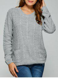 Comfy Double Pockets Cable Knit Sweater -