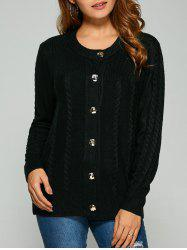 Cable Knit Cardigan With Buttons - BLACK ONE SIZE