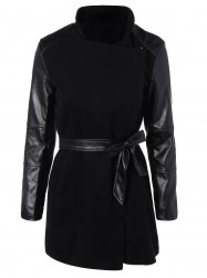 Belted High Collar Coat with Leather Sleeve - BLACK
