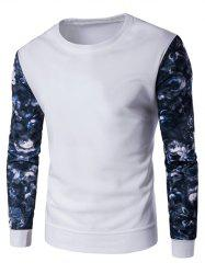 Long Sleeve Floral Printed Crew Neck Sweatshirt - WHITE XL