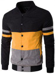 Color Matching Striped Snap Button Up Jacket - YELLOW 5XL