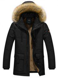 Multi Pocket Faux Fur Hooded Zippered Flocking Jacket