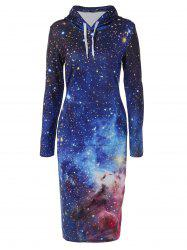 Hooded 3D Galaxy Print Dress - BLUE