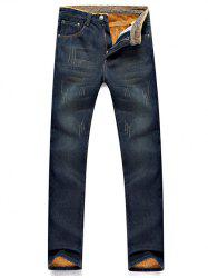Scratched Pocket Rivet Flocking Jeans