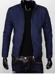Zipper Embellished Stand Collar Thicken Jacket