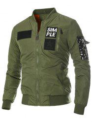 Appliques Stand Collar Zip-Up Thicken Jacket - ARMY GREEN 3XL