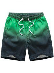 Eyelet Embellished Drawstring Ombre Board Shorts - GREEN