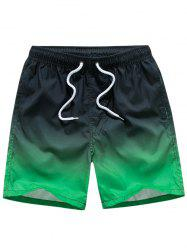 Eyelet Embellished Drawstring Ombre Board Shorts - BLACK