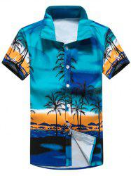 Tropical Printed Short Sleeve Hawaiian Shirt - BLUE