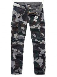 Plus Size Pockets Embellished Camouflage Slimming Cargo Pants -