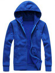 Hooded Simple Zip-Up Hoodie - BLUE