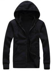 Hooded Simple Zip-Up Hoodie
