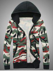 Hooded Camouflage Zip-Up Hoodie