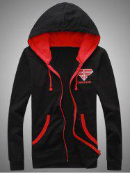 Hooded Color Block Splicing Zip-Up Embroidered Hoodie