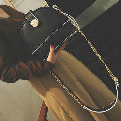 Metal Chain PU Leather Crossbody Bag -
